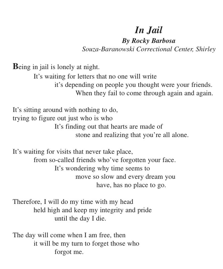 love poems for him in jail | In Jail – A Prisoner's Poem
