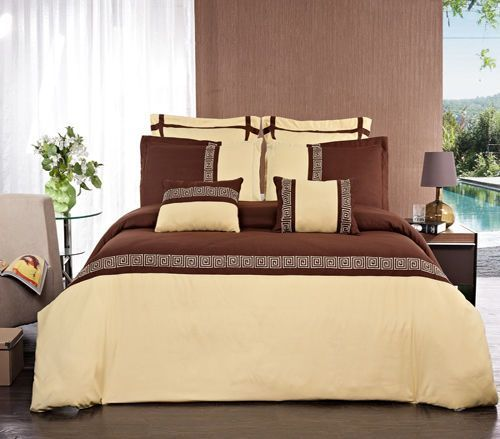 Gold and Chocolate Astrid  Embroidered 7 Piece Bedding Set 100% Microfiber  #RoyalTradition #Modern