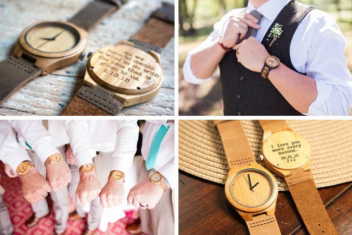 Drewniane dodatki dla Pana Młodego - drewniane zegarki.
