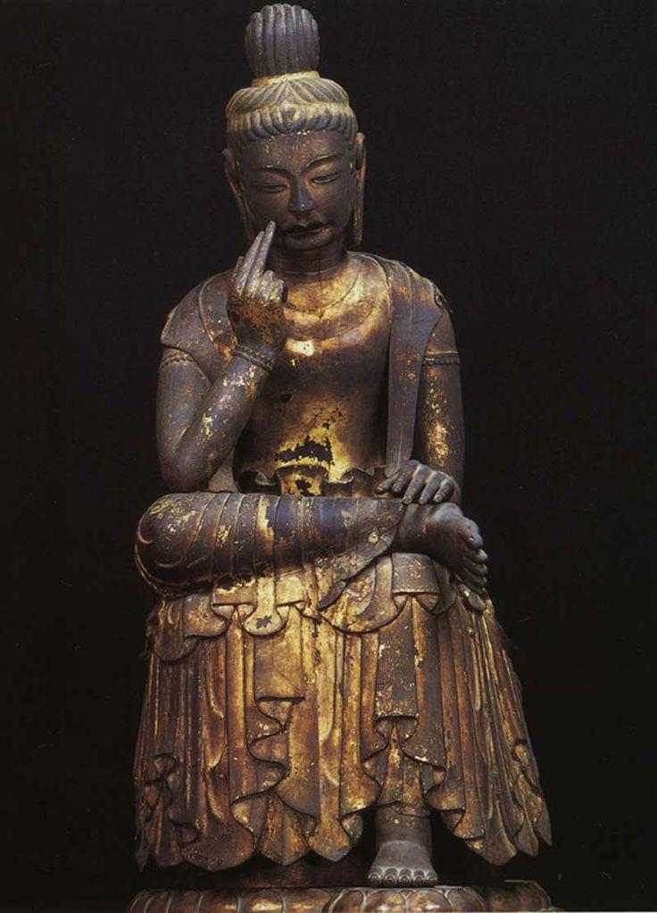 """弥勒菩薩半跏坐像-mirokubosatuhankazazou- (maitreya) It is bodhisattva Maitreya who contemplates. The expression of a sad look is  be called """"泣き弥勒(Crying Miroku).""""  広隆寺(kouryuuji)"""