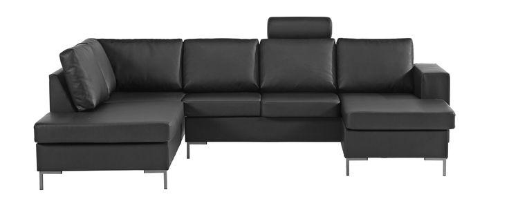 Køb Lima U-sofa højrevendt, sort bonded læder på Bilka.dk | Se også hele udvalget af Hjørnesofaer
