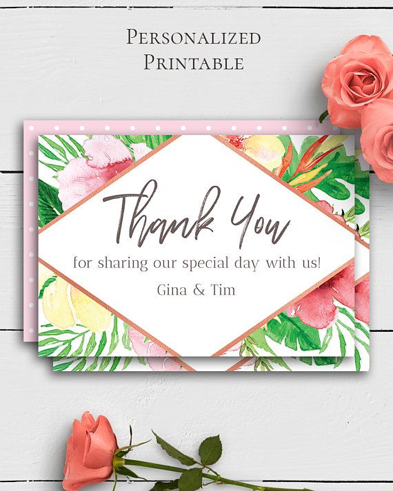 Tropical Wedding Thank You Card with dazzling and vivid watercolor tropical motifs in trendy wedding style by Amistyle Digital Art on Etsy