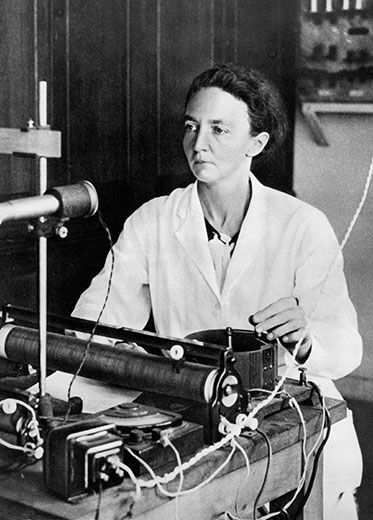 """Irene Curie Joliot. The elder daughter of Pierre and Marie Curie, Irène Curie-Joliot (1897-1956) followed in her parents' footsteps into the lab. She received a Nobel Price in chemistry in 1935. The Granger Collection, New York. Photos from: """"Ten Historic Female Scientists You Should Know"""""""