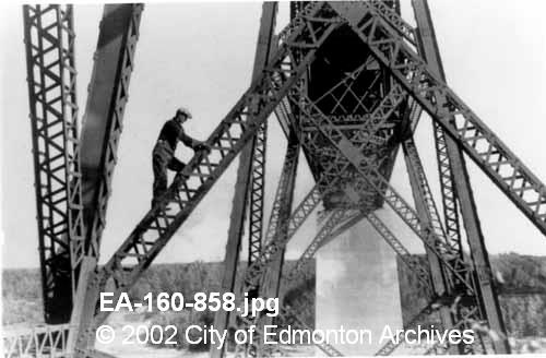 Construction on the Clover Bar Bridge September 1932  Image courtesy of Vintage Edmonton  https://www.facebook.com/TheVintageEdmonton