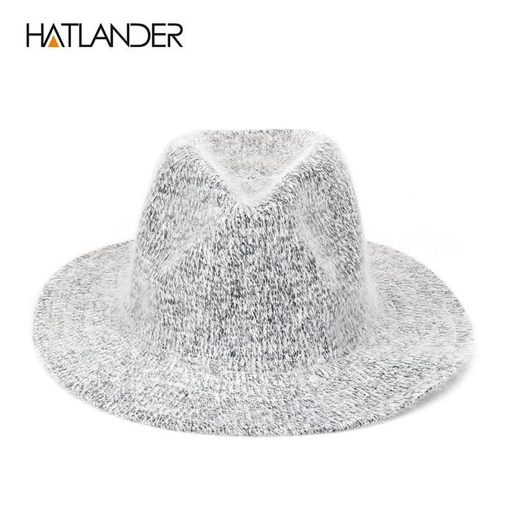 [HATLANDER] 2017 Crochet Wool Fedoras for Men Women Knitted Winter Hats Flat Brim Cowboy Cap Gorros Outdoor Warm Fur Panama Hat
