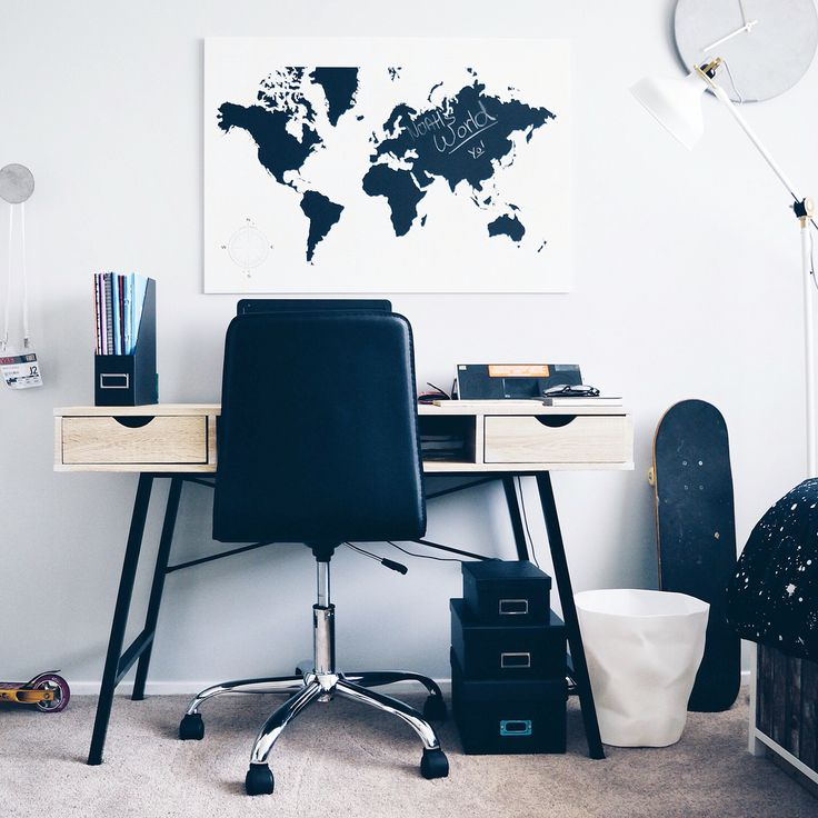 Creative workspace in a teenage man cave