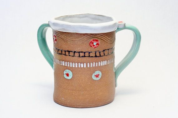 "Pinned by another ""Mimi Stadler Studio Potter From NJ Judaica Washing Cup Contemporary Ceramics Two Handled Pottery Cup New Jersey Well Regarded Artist"""