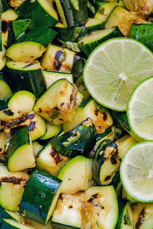 Lime Basil Grilled Zucchini is a healthy 10 minute summer dish recipe chock full of seasonal veggies and herbs. Nice change to a salad and great addition to any meal. | ifoodreal.com