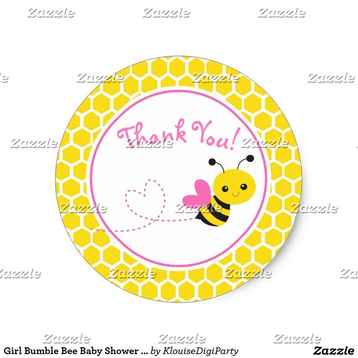 Girl Bumble Bee Baby Shower Thank You Classic Round Sticker