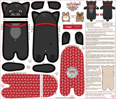 Black_Cat_Pencil_Case fabric by woodmouse&bobbit on Spoonflower - custom fabric
