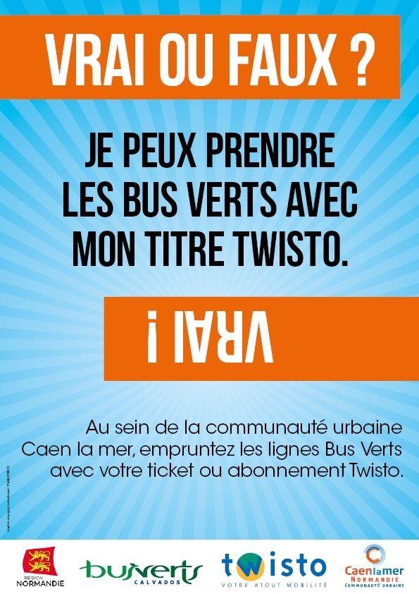 #Caenlamer : #Twisto #Bus Verts - La complémentarité de l'offre transport sur le territoire de la Communauté urbaine !