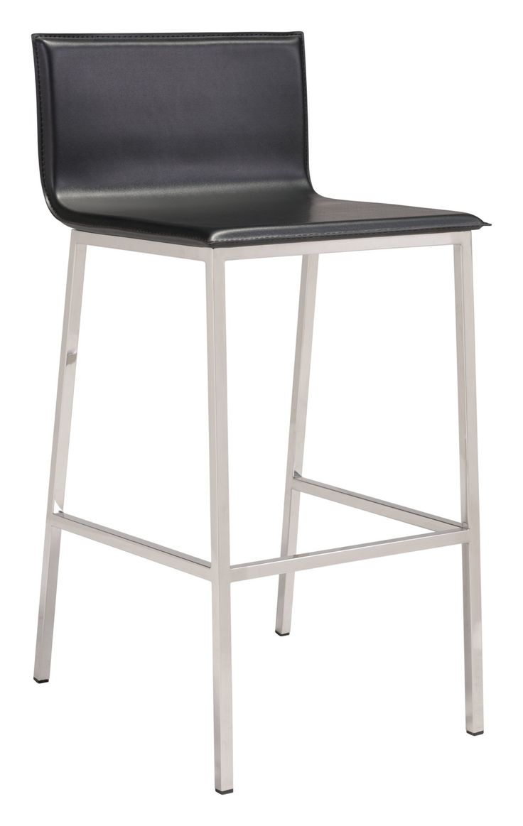 Marina Bar Stool in Black Leatherette on Stainless Steel Base