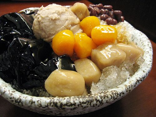Taiwanese dessert: shaved ice topped with red bean ice cream, black jelly, red beans, etc.