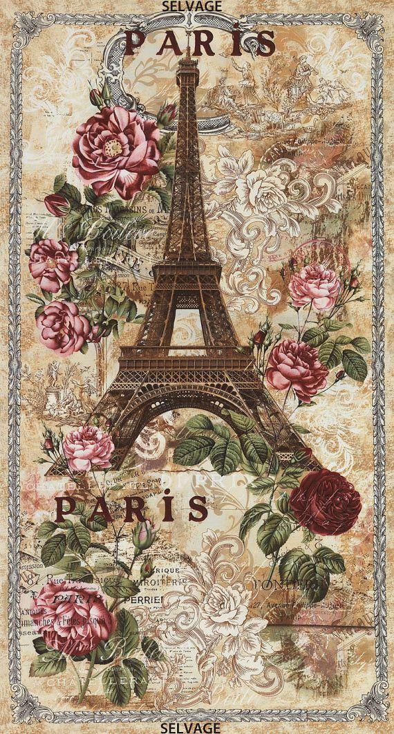 Fabric Timeless PARIS Panel Eiffel Tower Antique Art Nouveau