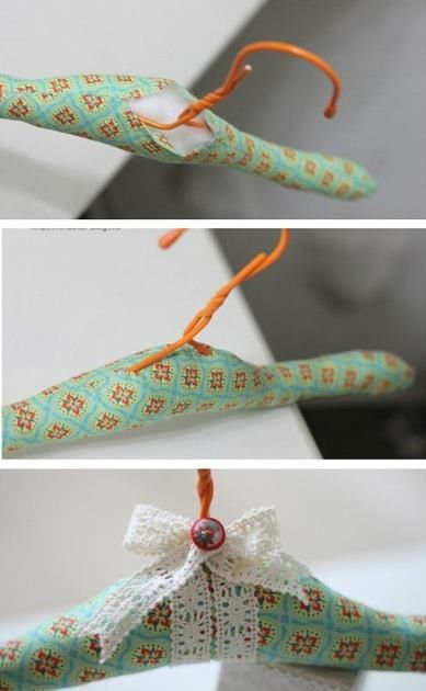 Idea para reciclar las perchas de la tintorería.