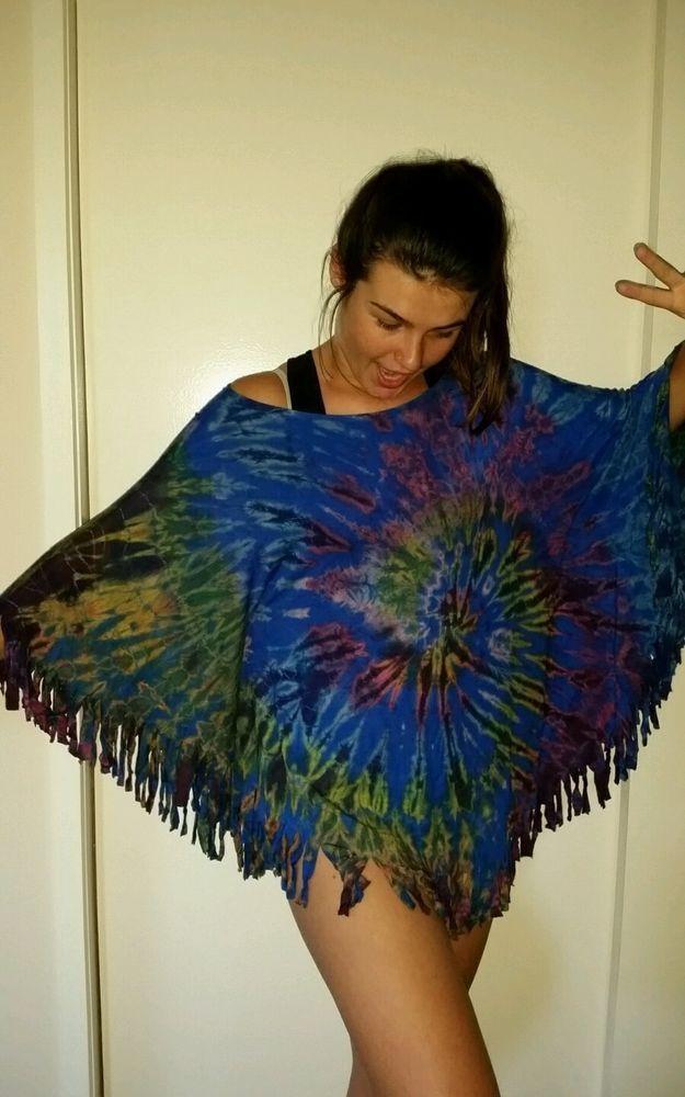PlusTop poncho Tie Dye size 14 16 18 20 22 bat sleeve  Soft Flowing stretch