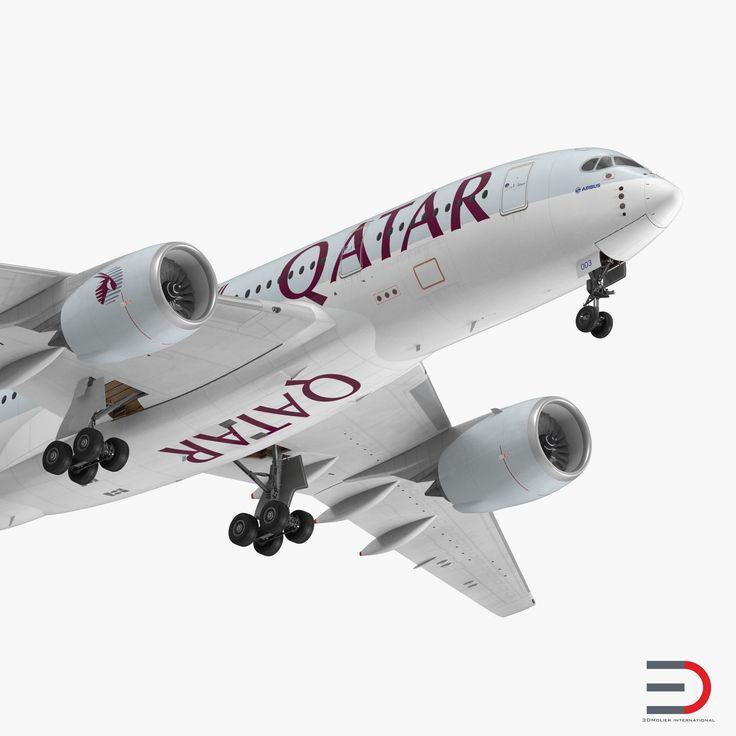 Airbus A350-800 Qatar Rigged 3D Model 3D model
