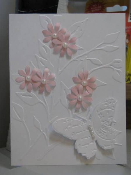 embossing folder, punched and embossing folder butterfly, and punched flowers card
