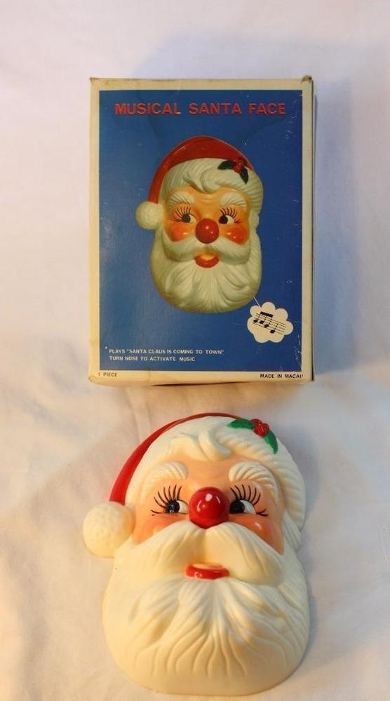 """Vtg. Jolly Santa HEAD FACE XMAS Musical Nose Wind Up 7"""" Adorable Cute Claus BOX"""