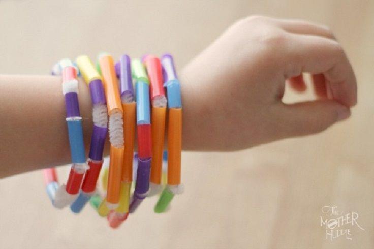 Friendship bracelets - recycled plastic drinking straws (Year 2). See Abundance Orchard craft instructions for bracelet exchange idea.