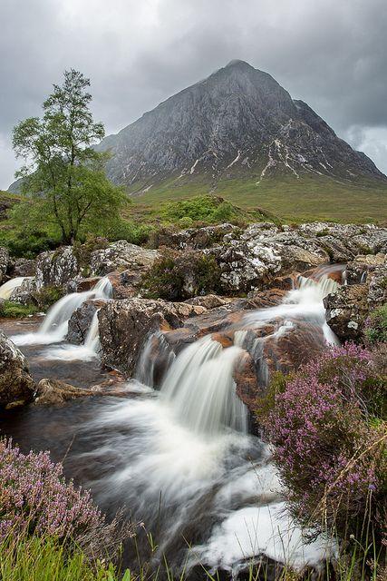 glen and waterfall, Buachaille Etive Mòr, highlands of Scotland.