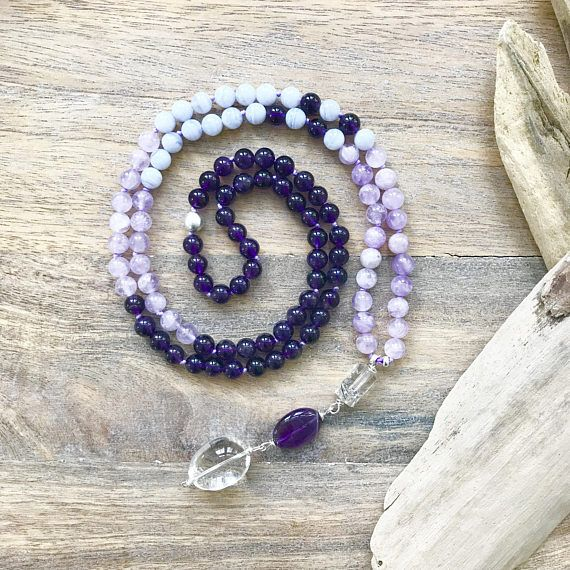 Amethyst Lavender, Amethyst and Blue Lace Agate Mala Beads. The perfect Boho accessory with beautiful energy.