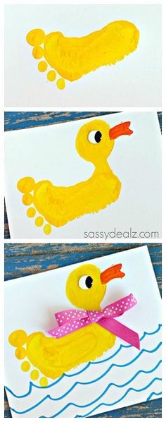 Footprint Duck Craft for Kids - Super cute rubber ducky art project.