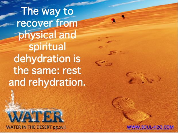 The way to recover from physical and spiritual dehydration is the same: rest and rehydration. pg.xvii #GetWATER #WATERINTHEDESERT #WITDquotes