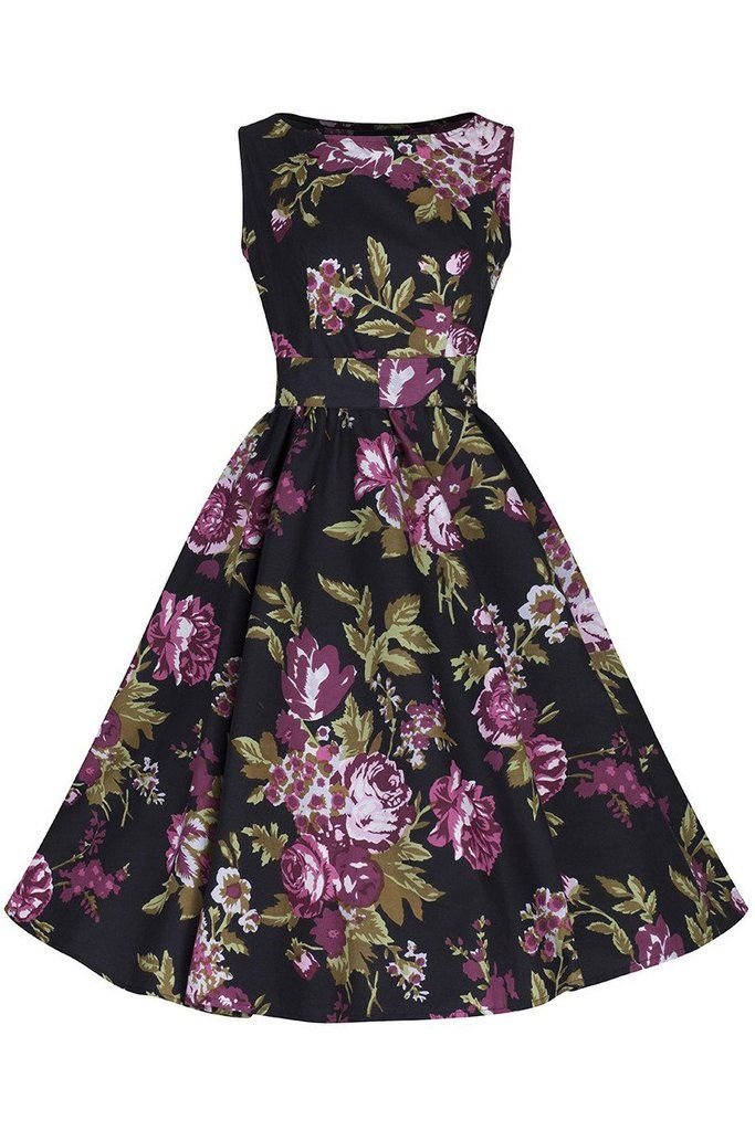 Black Floral Audrey Swing Dress
