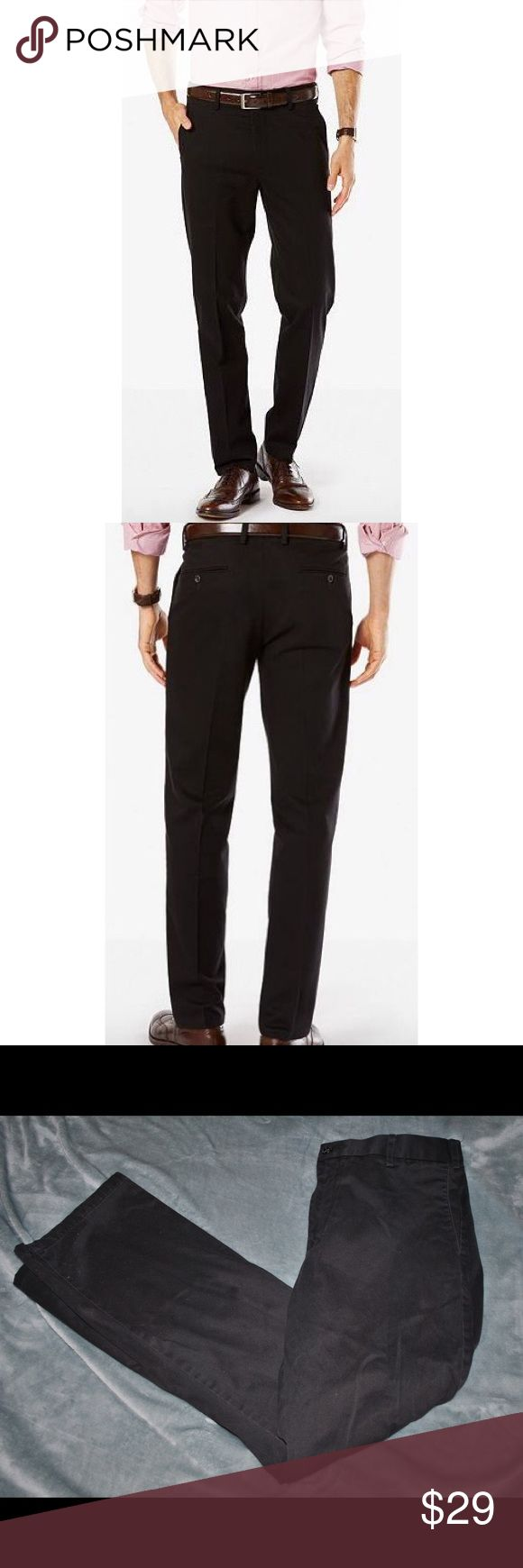 Dockers Black Khaki Slim Fit Pants Dockers black khaki pants with a slim fit. 2 front pockets and 2 buttoned back pockets. Great for work and casual wear. Brand: Dockers Size: 36 x 32 Material:100% Cotton Dockers Pants Chinos & Khakis