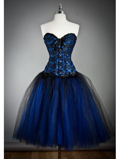 Blue Gothic Burlesque Short Corset Prom Party Dress -