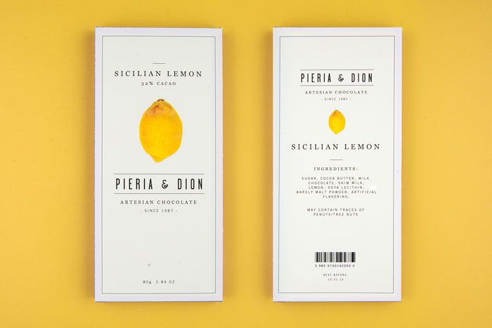 Packaging design for fictional chocolate company Pieria & Dion by Leo Porto.  Photography by Fernando Pereira Gomes. Via The Dieline.