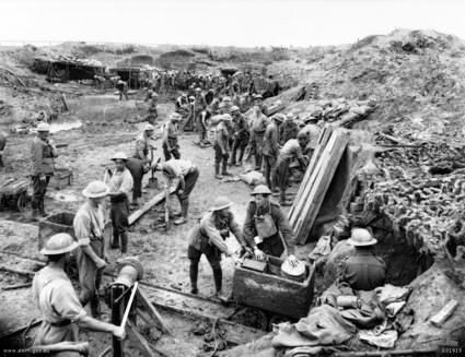 In March , April and May 1917 the Australians were tunneling 5.5 metres per day in their efforts to prepare great mines for the impending attack on Messines. AWM