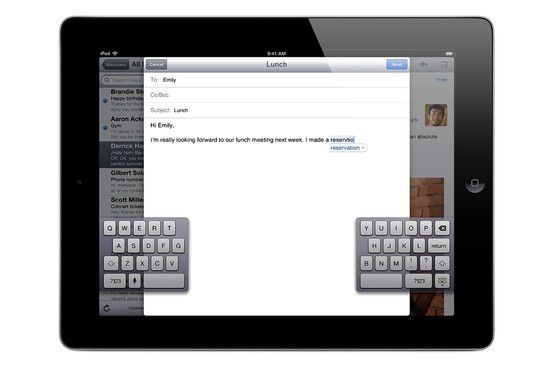 Splitting the iPads on-screen keyboard in two lets you grasp the iPad with two hands and type with your thumbs. This is on by default—though you may not know it. #Ipad #tricks