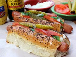 my favorite is the chicago dog, and luckily there's a local hot dog cart dude (nearly unbelievable in such a rural area) that makes killer chicago dogs. Amazing.