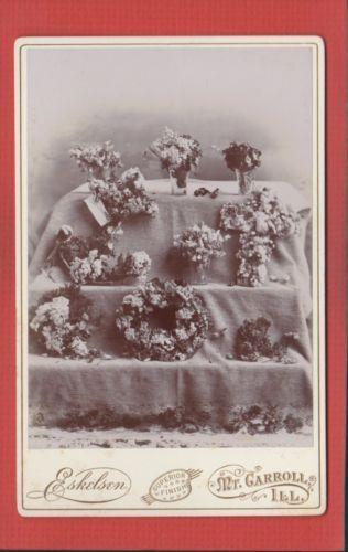 Vtg cabinet card funeral memorial floral display eskelsen studio mt