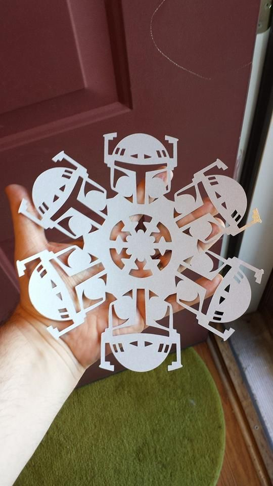 Boba fett snowflake and other DIY Star Wars Snowflake templates