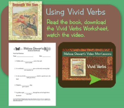 Use this Video Mini-lesson to teach students about the importance of using strong, vivid verbs in their writing. http://www.melissa-stewart.com/sciclubhouse/teachhome/writing_info.html