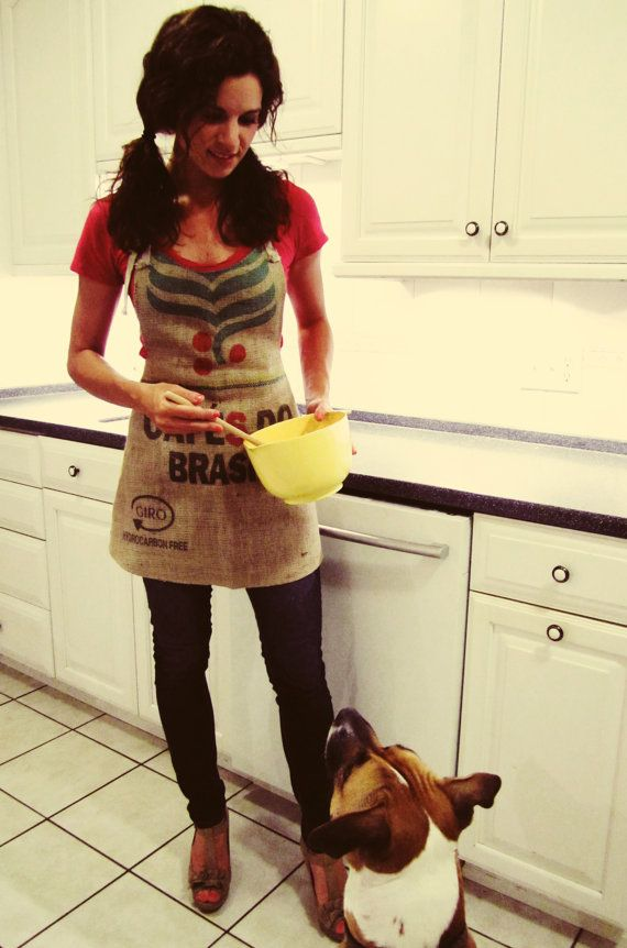 Brazil Burlap Coffee Sack Apron by BackAlleyChic on Etsy, $60.00 If I get this I will cook something