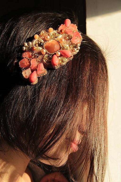 "Лента для волос ""Персиковая роза"".. Handmade."
