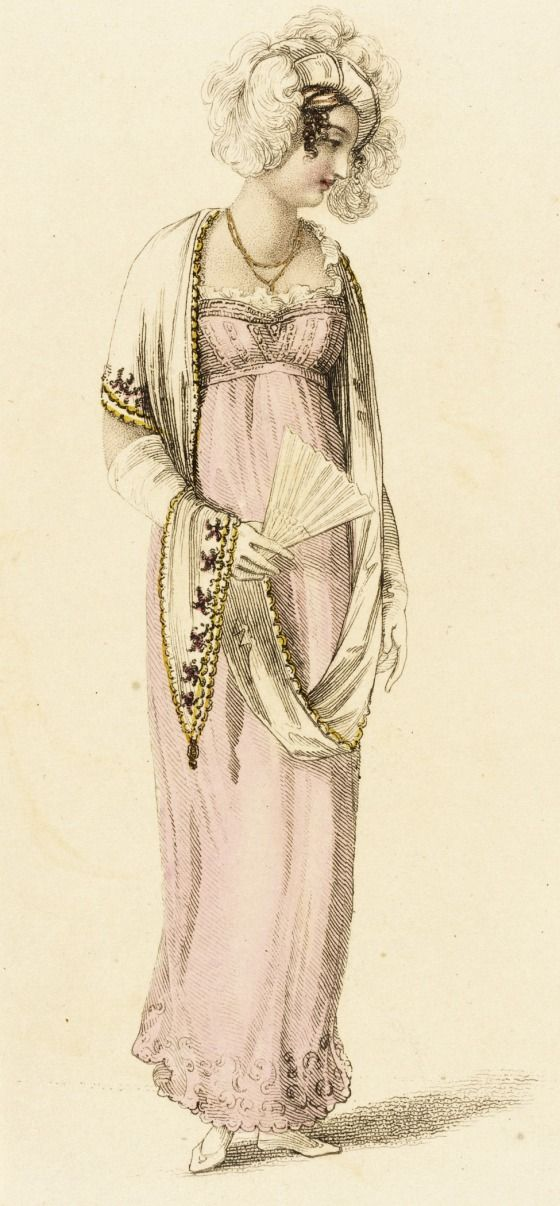 1810 Pale Pink Half Dress. Empire style gown, shawl, fan. Fashion Plate (Half Dress). collections.lacma.org