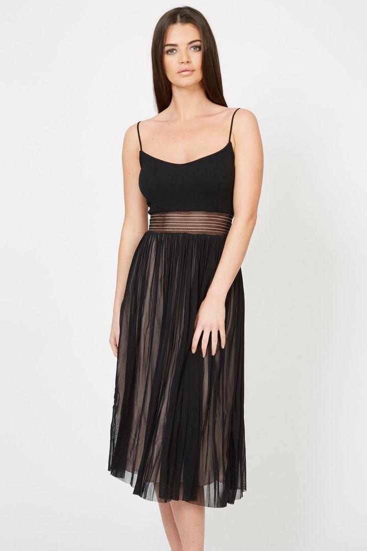 TFNC Party Dress<br /> <br /> - Mesh panel <br /> - Midi length <br /> - Cami straps <br /> - Mesh overlay <br /> <br /> <br /> Material: 95% Polyester, 5% Elastane.<br /> Handwash Only.