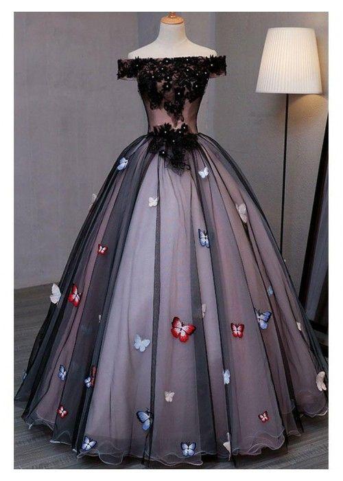 Off the Shoulder Black Prom Dresses Plus Size Butterfly Appliqued Princess Quinceanera Dress,PD091402