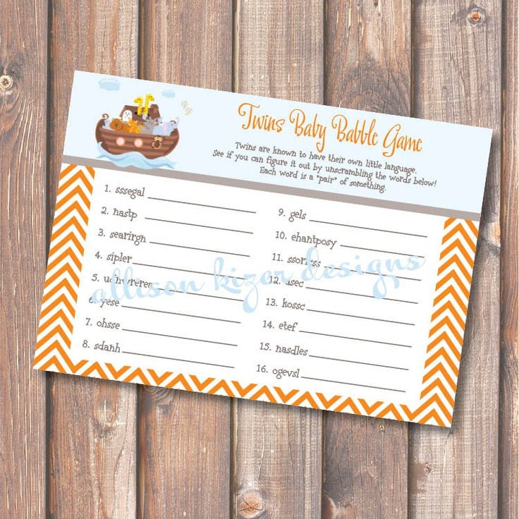 printable baby shower game noah 39 s ark twins baby babble word