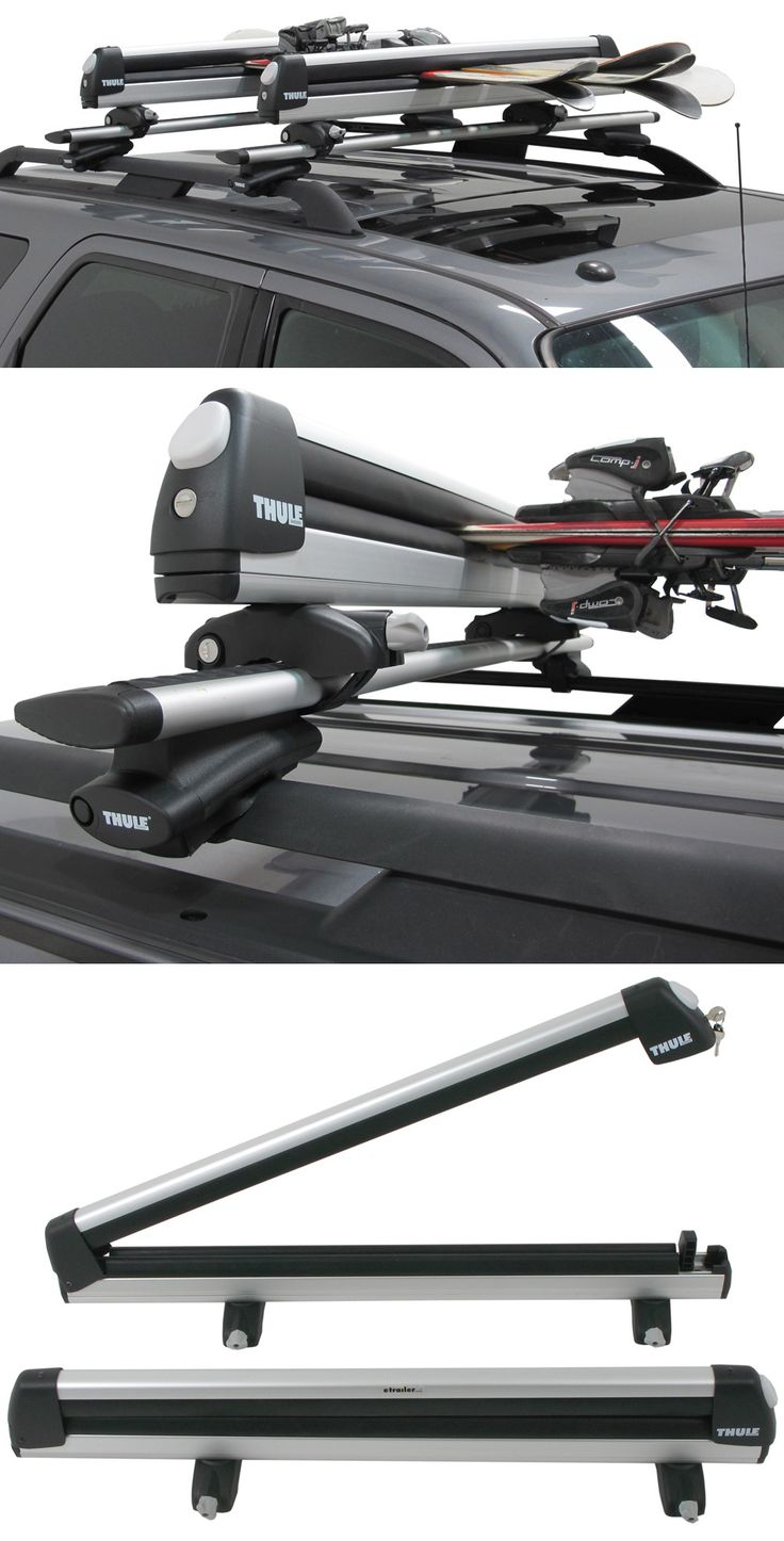 Load skis and snowboards onto your roof-mounted carrier with convenient, locking rack. Carries up to 6 pairs of skis or 4 snowboards.