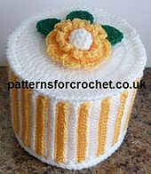 Ravelry: PFC83-Flowered Toilet Roll Cover pattern by Patternsfor Designs