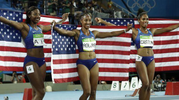 Gold medal winner Brianna Rollins, silver medal winner, Nia Ali and bronze medal…