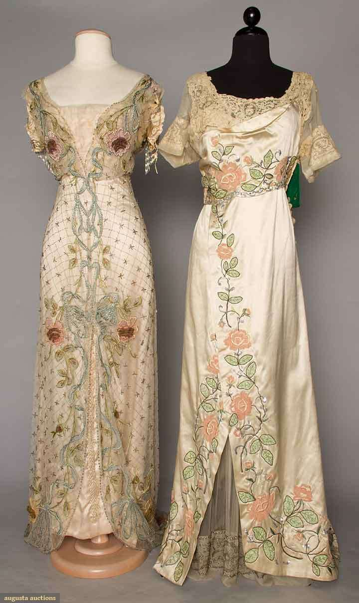 TWO FLORAL EMBROIDERED TRAINED GOWNS, c. 1912 LOVE! LOVE! LOVE! I want to dress this way.