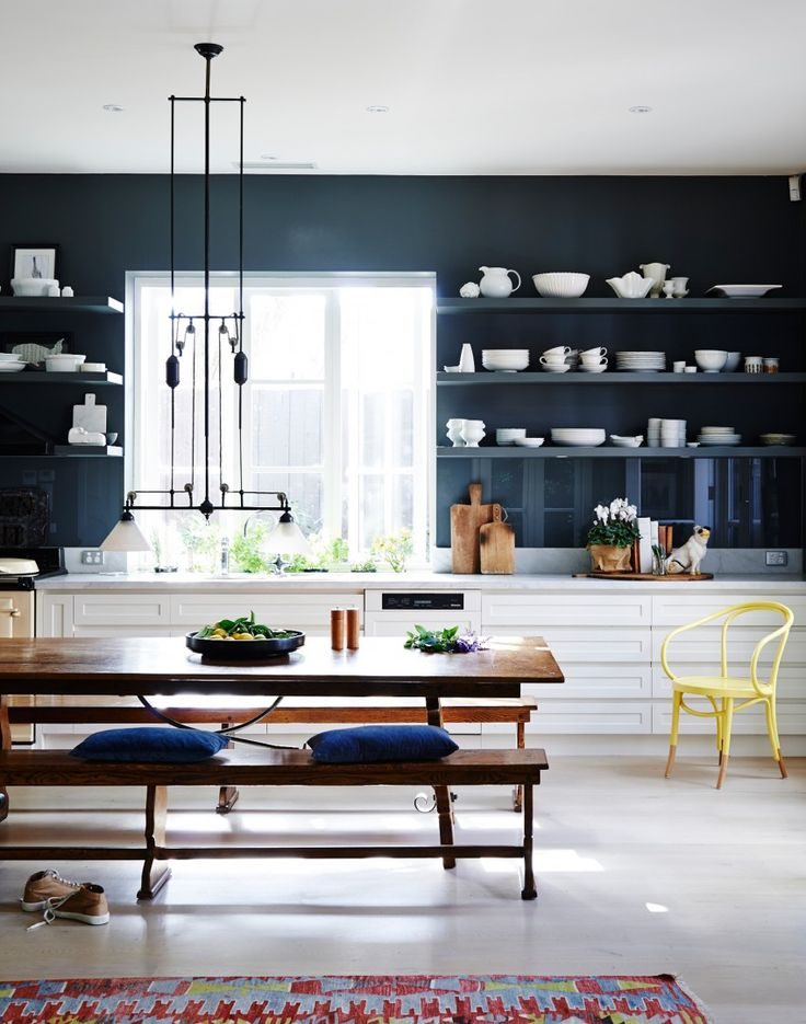 Black modern kitchen with white units . { lovely look for my new kitchen } .