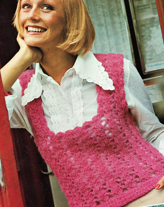 PDF Vintage 1970s Womens Ladies Tank Top Crochet Pattern